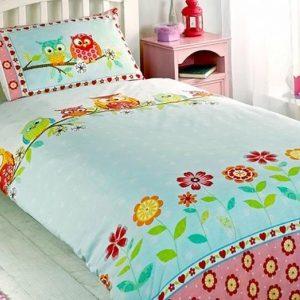 1-persoons meisjes dekbedovertrek blauw / roze met retro uiltjes op tak en bloemen / hartjes 140 X 200 cm