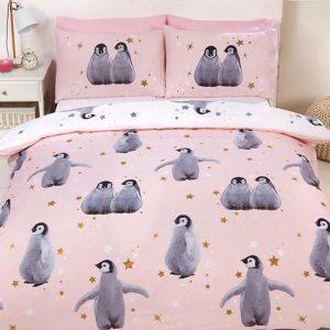 1-persoons meisjes dekbedovertrek roze / zachtroze met pinguïns (grijs) en gouden en witte sterren 140 x 200 cm