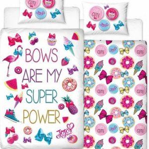 "1-persoons meisjes dekbedovertrek van Jojo Siwa ""super power"": wit met flamingo, sneakers, donuts, ijsjes en strikjes 140 x 200 cm"