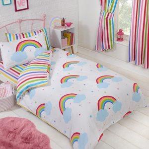1-persoons meisjesdekbedovertrek met regenboog / regenbogen, wolken en kleine gekleurde sterren / sterretjes 140 x 200 cm