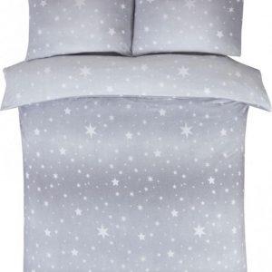 1-persoons winter / kerst dekbedovertrek grijs met fonkelende sterren FLANEL 140 x 200 cm