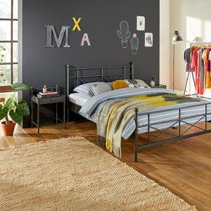 Bed Milano Met Lattenbodems En Silver Pocket Deluxe Foam Matras - 160 x 200 cm - antraciet
