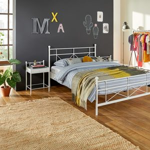 Bed Milano Met Lattenbodems En Silver Pocket Deluxe Foam Matras - 160 x 200 cm - wit