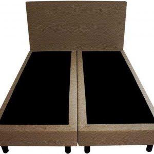 Bedworld Boxspring 120x210 - Geveerd - Lederlook - Donker taupe (MD929)