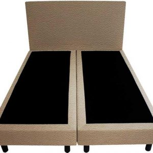 Bedworld Boxspring 120x210 - Geveerd - Lederlook - Taupe (MD926)