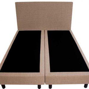 Bedworld Boxspring 120x210 - Geveerd - Linnenlook - Donker beige (S17)