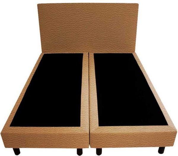 Bedworld Boxspring 120x220 - Lederlook - Licht bruin (MD914)
