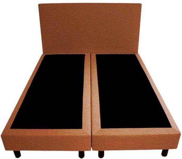 Bedworld Boxspring 120x220 - Lederlook - Roest bruin (MD956)