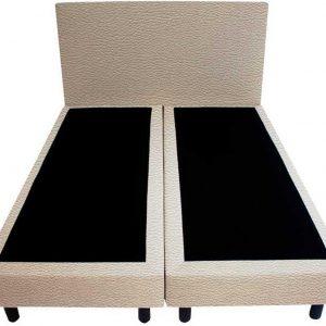 Bedworld Boxspring 120x220 - Lederlook - Wit grijs (MD982)