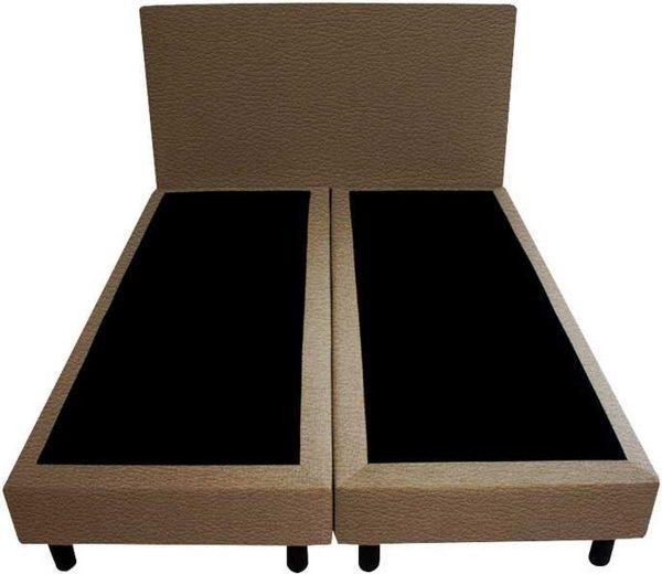 Bedworld Boxspring 140x200 - Geveerd - Lederlook - Donker taupe (MD929)