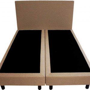 Bedworld Boxspring 140x200 - Lederlook - Donker beige (MD923)