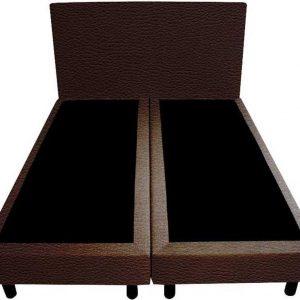 Bedworld Boxspring 140x200 - Lederlook - Donker bruin (MD928)