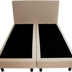 Bedworld Boxspring 140x200 - Lederlook - Licht taupe (MD906)