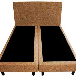 Bedworld Boxspring 140x220 - Lederlook - Licht bruin (MD914)