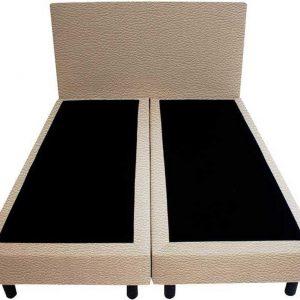 Bedworld Boxspring 140x220 - Lederlook - Licht taupe (MD906)