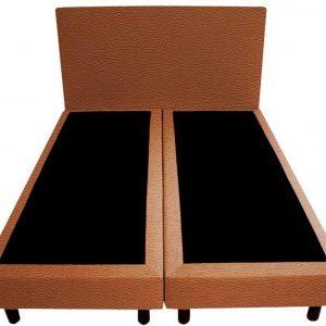 Bedworld Boxspring 140x220 - Lederlook - Roest bruin (MD956)