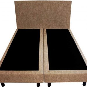 Bedworld Boxspring 200x200 - Lederlook - Donker beige (MD923)