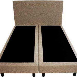 Bedworld Boxspring 200x200 - Lederlook - Taupe (MD926)