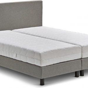 Beter Bed Basic box Ambra vlak met Easy Pocket matras - 160 x 200 cm - lichtgrijs