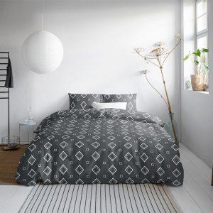 DreamHouse Bedding Aliya - Antraciet 1-persoons (140 x 200/220 cm + 1 kussensloop) Dekbedovertrek