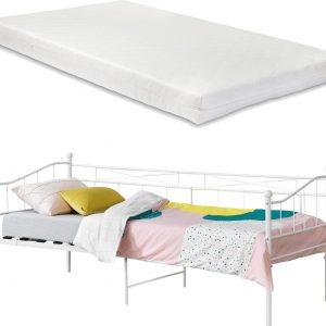 Eenpersoons slaapbank Arjeplog met matras 90x200 cm wit