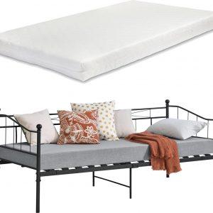 Eenpersoons slaapbank Arjeplog met matras 90x200 cm zwart