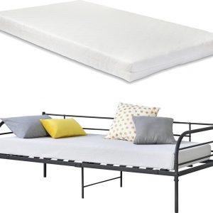Eenpersoons slaapbank Falun met matras 90x200 cm zwart