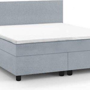Haluta - Complete Boxspring - 140 x 200 cm - IJsblauw - Inclusief Topper