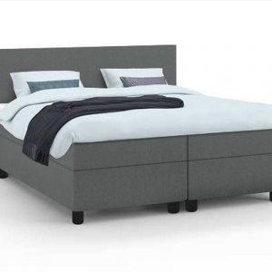 Haluta - Complete Boxspring - 160 x 200 cm - grijs - Inclusief Topper