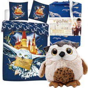 Harry Potter Hedwig Dekbedovertrek - Eenpersoons - 140 x 200 cm - Polyester, incl. Pluche knuffel Uil 21 cm