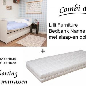 Lilli Furniture Bedbank Nanne met Slaaplade en matrassen - 90x200 - wit