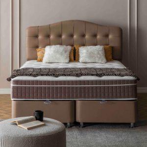 Maison Interiors - Excellent Taupe Premium Opbergboxspring - 140x200