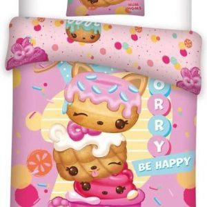 Num Noms Be Happy - Dekbedovertrek - Eenpersoons - 140 x 200 cm - Roze 140x200 cm + 63x63 cm 100% Polyester