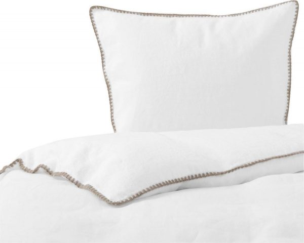 Passion for Linen Luxe dekbedovertrek Felice Linnen en katoensatijn, 140 x 220 cm, wit met zandkleur