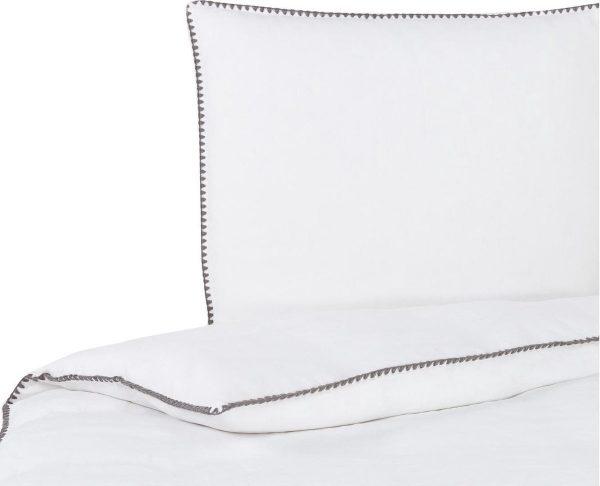 Passion for Linen Luxe dekbedovertrek Felice Linnen en katoensatijn, 240 x 220 cm, wit met donkergri