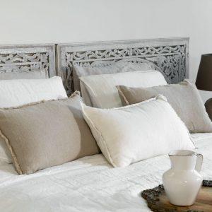 Passion for Linen Luxe dekbedovertrek Sofie Linnen en katoensatijn, 140 x 220 cm, gebroken wit
