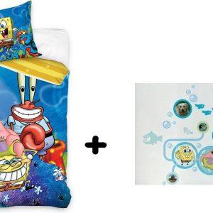 Spongebob éénpersoons dekbedovertrek 140 x 200 cm + XL muursticker PROMOpack
