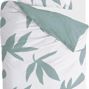 Walra Dekbedovertrek Simple Leaves - 140x220 - 100% Katoen - Off White / Groen