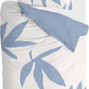 Walra Dekbedovertrek Simple Leaves - 140x220 - 100% Katoen - Off White / Jeans Blauw