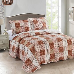Woontante - Bedsprei - Quilt - Paisley Delight - 140x200 - 1-persoons - Bordeauxrood