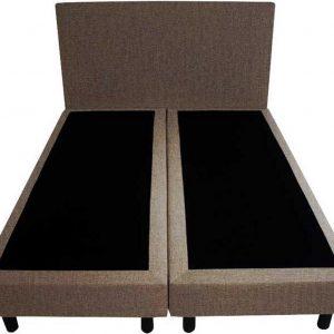 Bedworld Boxspring 120x200 - Geveerd - Velours - Taupe (ML15)