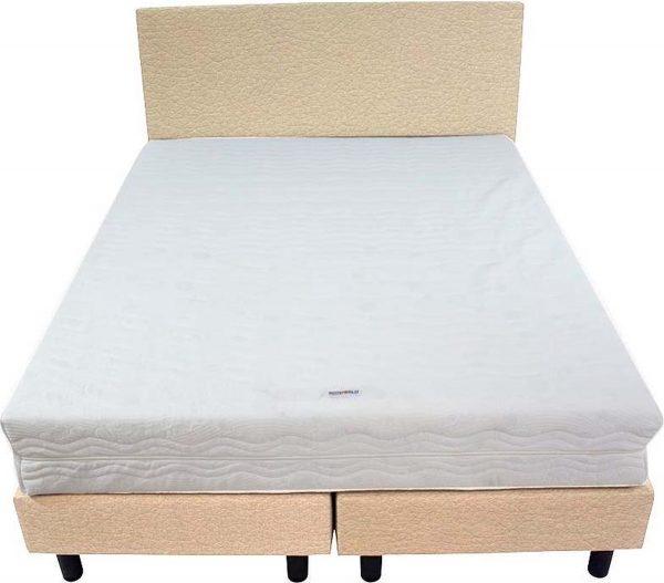 Bedworld Boxspring 140x220 - Medium - Lederlook - Beige (MD912)