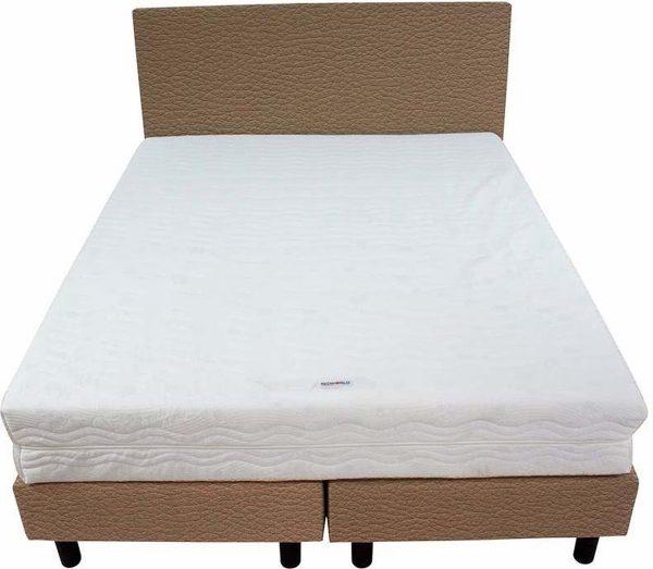 Bedworld Boxspring 140x220 - Medium - Lederlook - Donker beige (MD923)