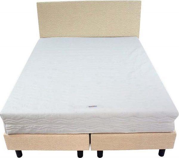 Bedworld Boxspring 140x220 - Medium - Lederlook - Gebroken wit (MD921)