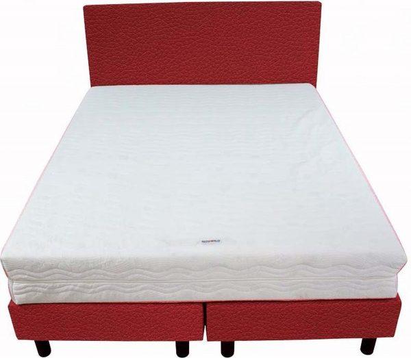 Bedworld Boxspring 140x220 - Medium - Lederlook - Rood (MD960)