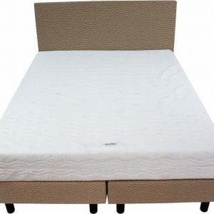 Bedworld Boxspring 140x220 - Medium - Lederlook - Taupe (MD926)
