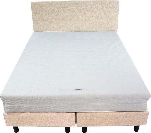 Bedworld Boxspring 140x220 - Medium - Lederlook - Wit (MD920)