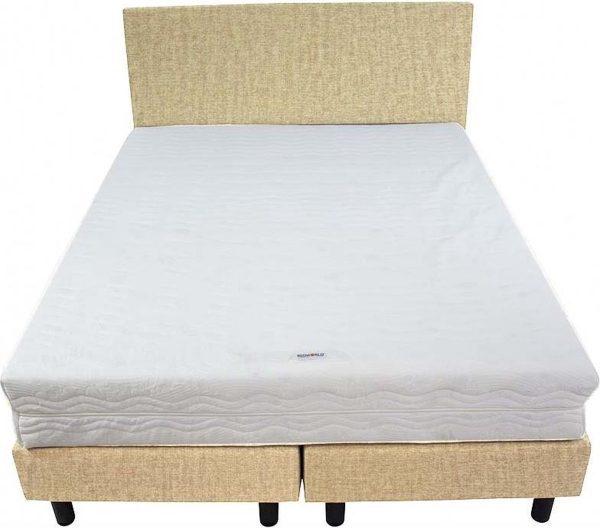 Bedworld Boxspring 140x220 - Medium - Velours - Donker beige (ML04)