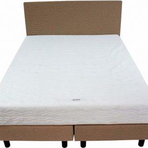 Bedworld Boxspring 140x220 - Stevig - Lederlook - Donker beige (MD923)