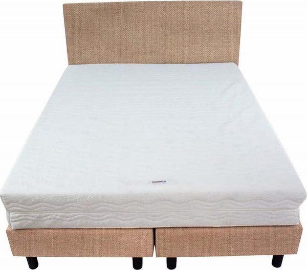 Bedworld Boxspring 140x220 - Stevig - Linnenlook - Donker beige (S17)